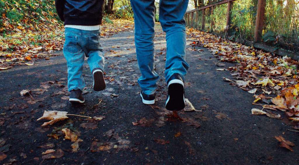 Father-Son-Autumn-Road-Walking